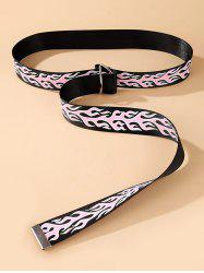 Rings Buckle Flame Pattern Canvas Belt -