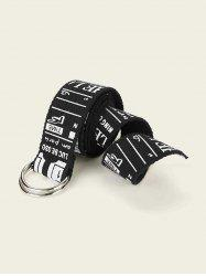 Graphic Pattern Rings Buckle Canvas Belt -