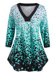 Leopard Ruched Curved Hem Plus Size Blouse -