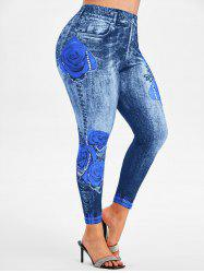 Rose Plaid 3D Print High Waisted Plus Size Jeggings -