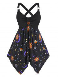 Plus Size Ring Moon and Sun Hanky Hem Cross Tank Top -