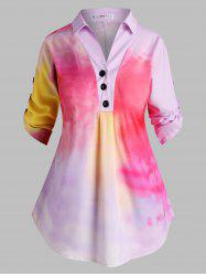 Button Front Tab Sleeve Tie Dye Plus Size Top -