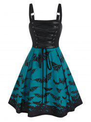 Lace Up Bat Print Mini Cami Dress -