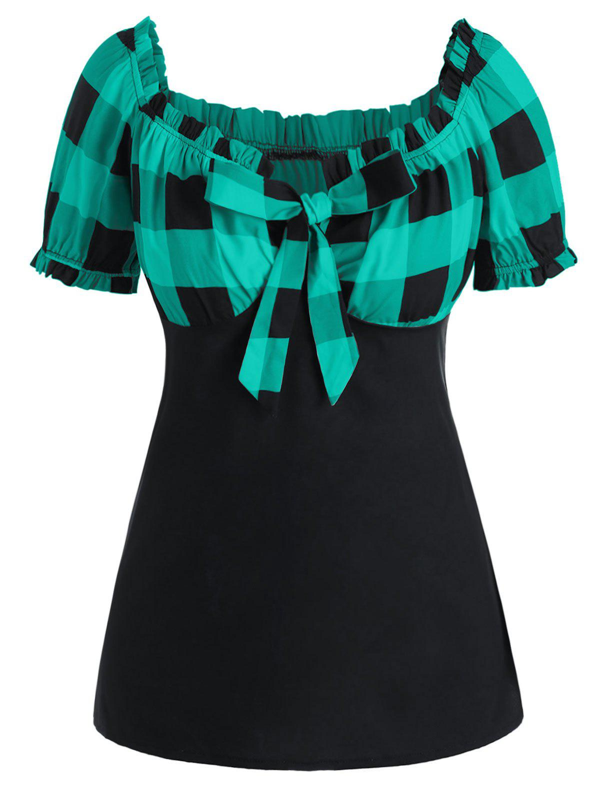 Plus Size Bow Tie Checked T Shirt фото