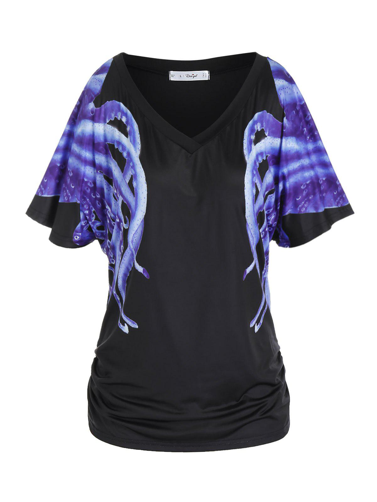Plus Size Octopus Pattern Flutter Sleeve Ruched Tee фото