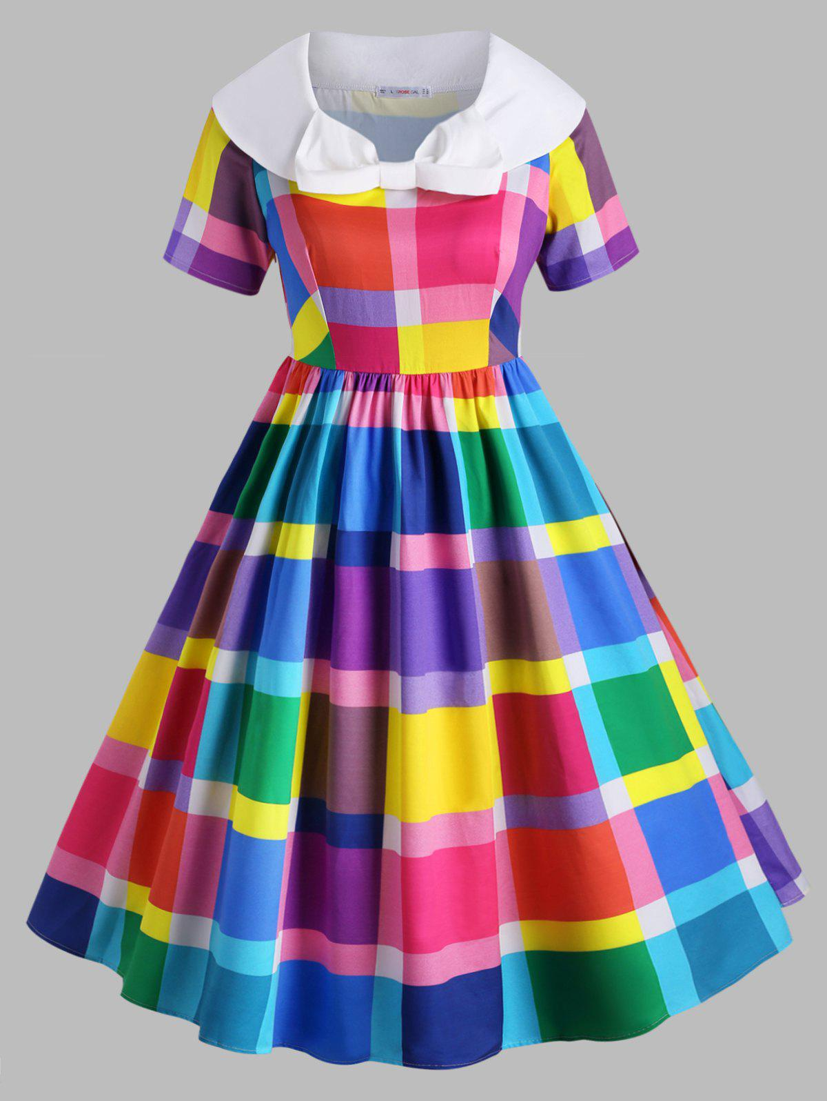 Colorful Plaid Bowknot Collar Plus Size Vintage Dress фото