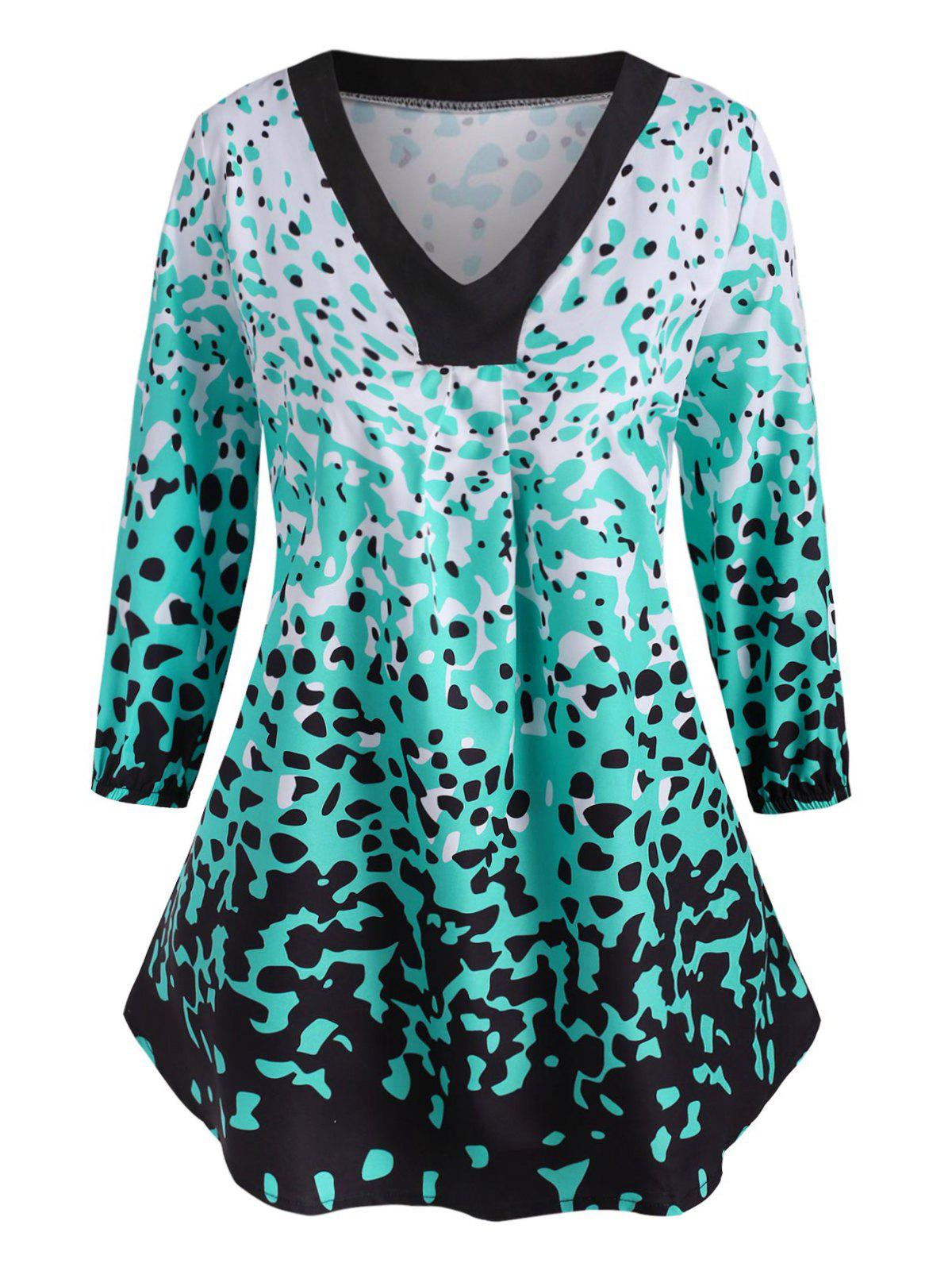 Discount Leopard Ruched Curved Hem Plus Size Blouse