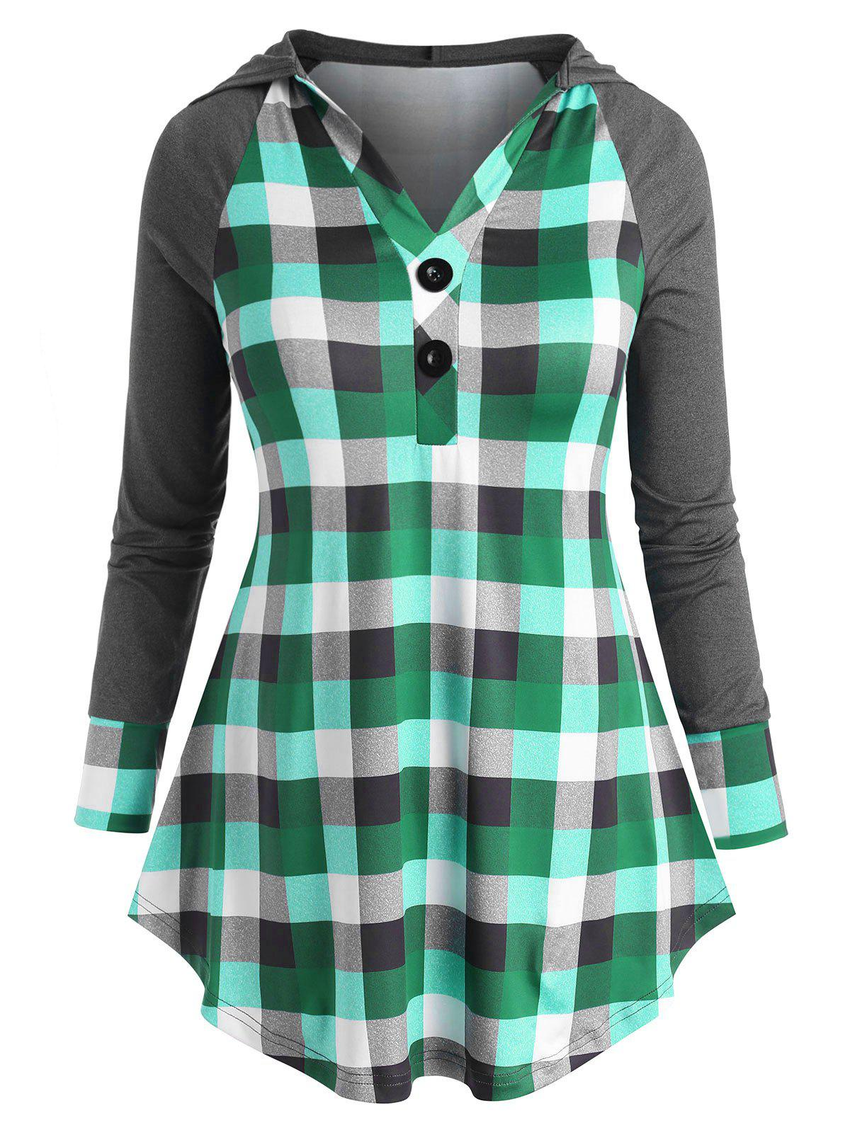 Online Two Buttoned Plaid Raglan Sleeve Plus Size Hoodie