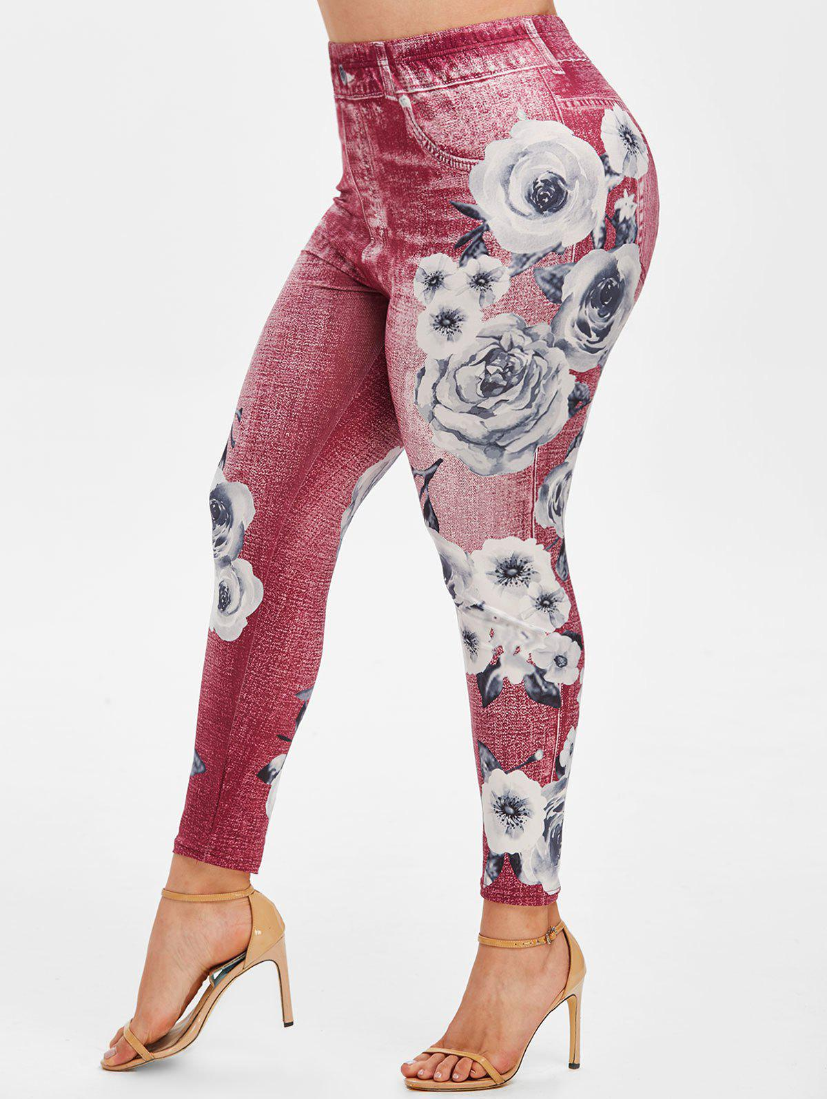 Best High Waisted 3D Print Floral Plus Size Jeggings