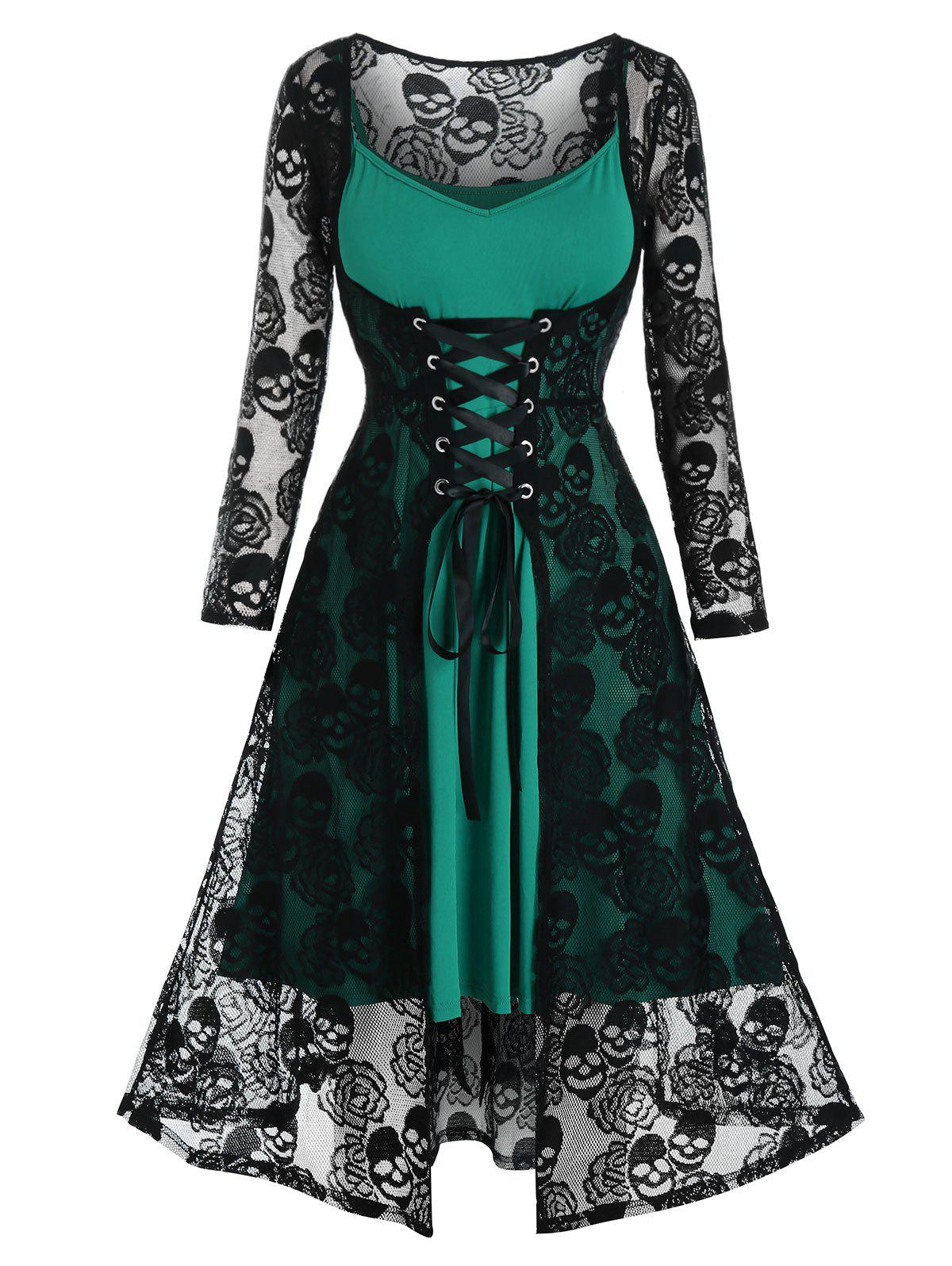 Shop Plus Size Lace Skull Sheer Lace-up Dress with Cami Dress Set