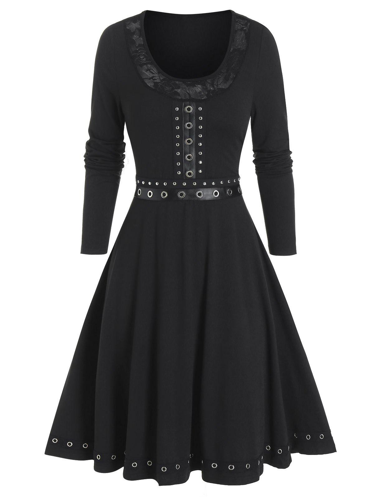 Cheap Pure Color Grommet Trim Mini Long Sleeve Dress