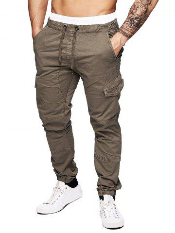 Pure Color Drawstring Flap Pockets Cargo Pants - BROWN - 2XL