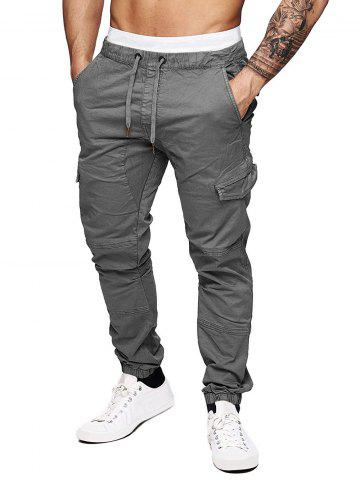 Pure Color Drawstring Flap Pockets Cargo Pants