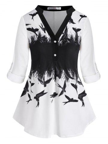 Tab Sleeve Button Front Swallow Printed Plus Size Top
