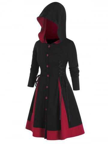 Plus Size Lace-up Hooded Two Tone Skirted Coat - BLACK - L