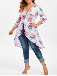 Plus Size Low Cut High Low Floral Blouse -