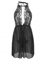 Sheer Mesh Scalloped Lace Panel Plus Size Lingerie Babydoll -