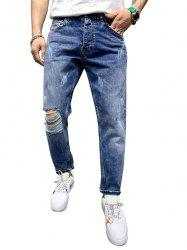 Distressed Destroy Wash Scratch Casual Jeans -