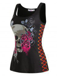 Plus Size Halloween Skull Flower Lace-up Print Tank Top -