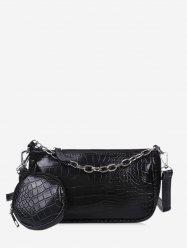 Animal Embossed Leather Crossbody Bag and Coin Purse Set -