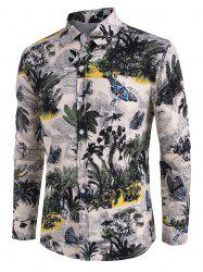 Palm Tree Butterfly Print Button Up Casual Shirt -