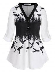 Tab Sleeve Button Front Swallow Printed Plus Size Top -