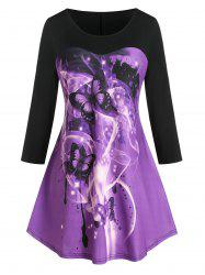 Plus Size Butterfly Print Contrast Tunic Tee -