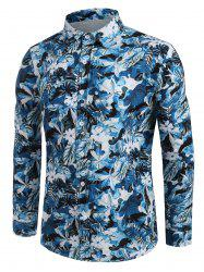 Allover Floral Leaf Print Button Up Casual Shirt -