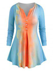 Plus Size Half Button Tie Dye Tee -