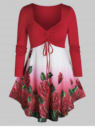 Plus Size Flower Ombre Cinched Tie Curved Hem Tee -