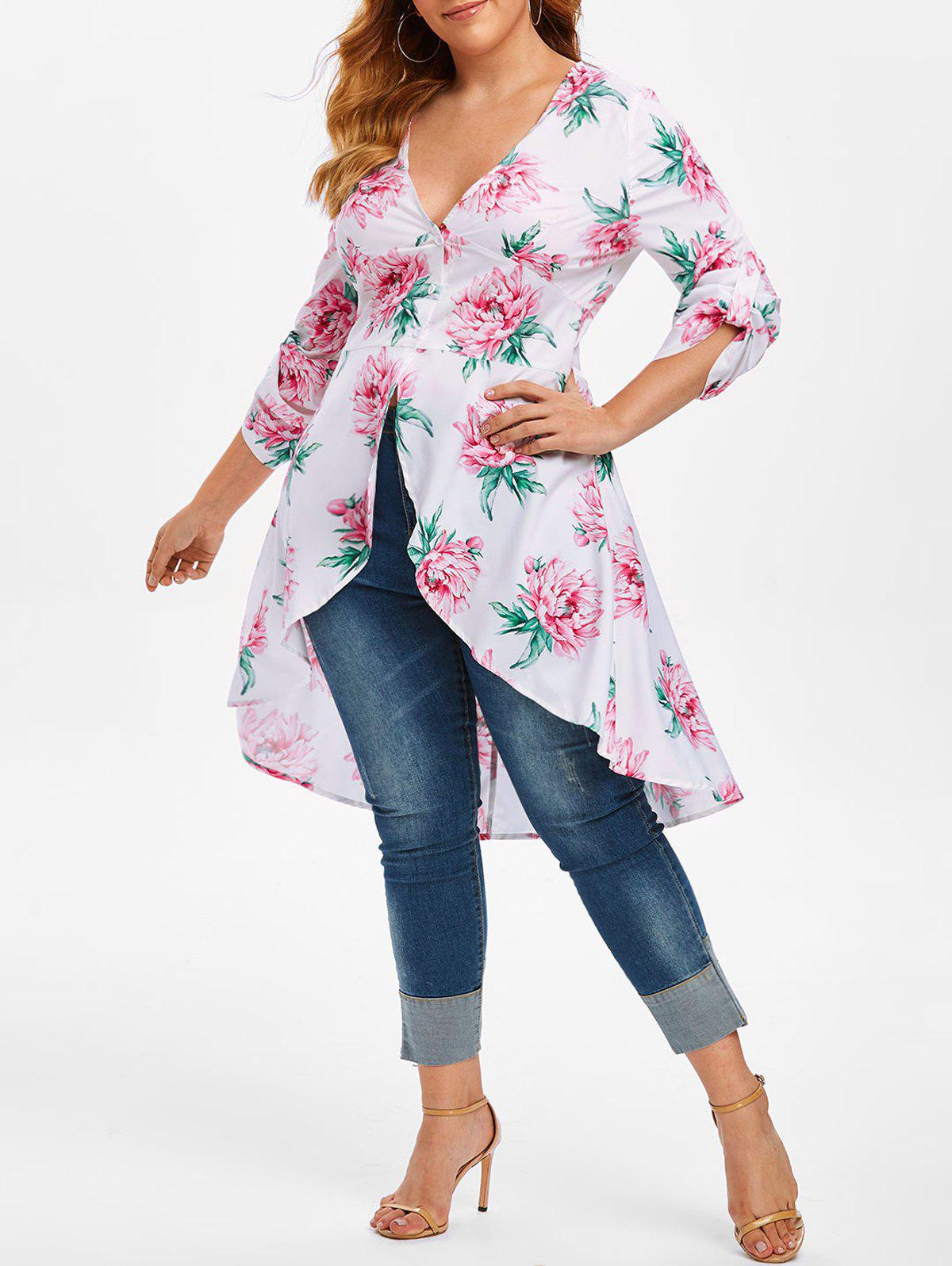 New Plus Size Low Cut High Low Floral Blouse