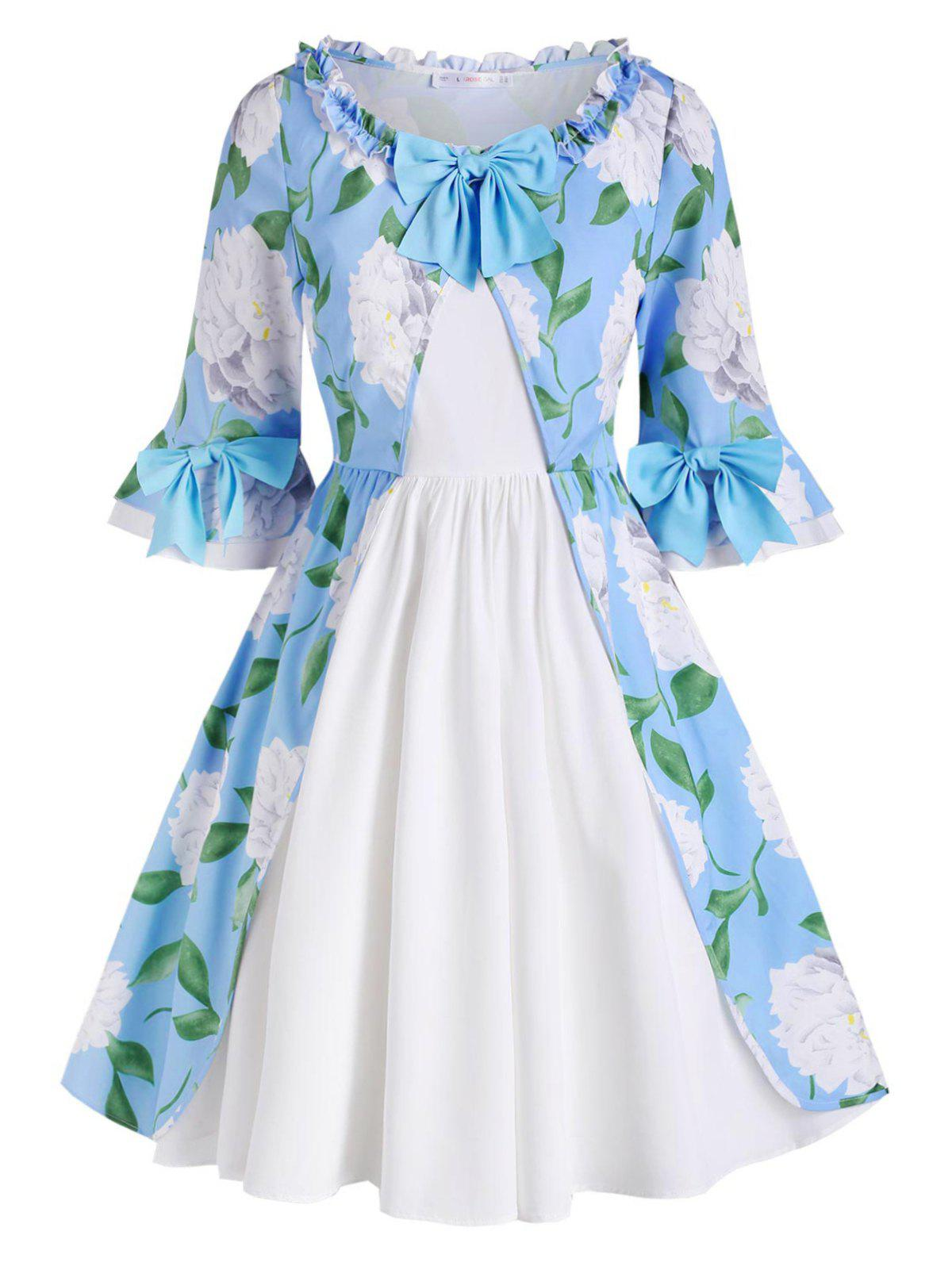 Hot Frilled Trim Floral Bowknot Plus Size Dress