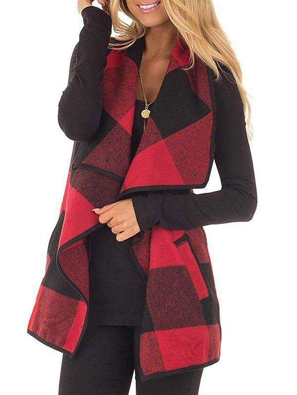 Plaid Draped Front Wool Blend Vest Waistcoat фото