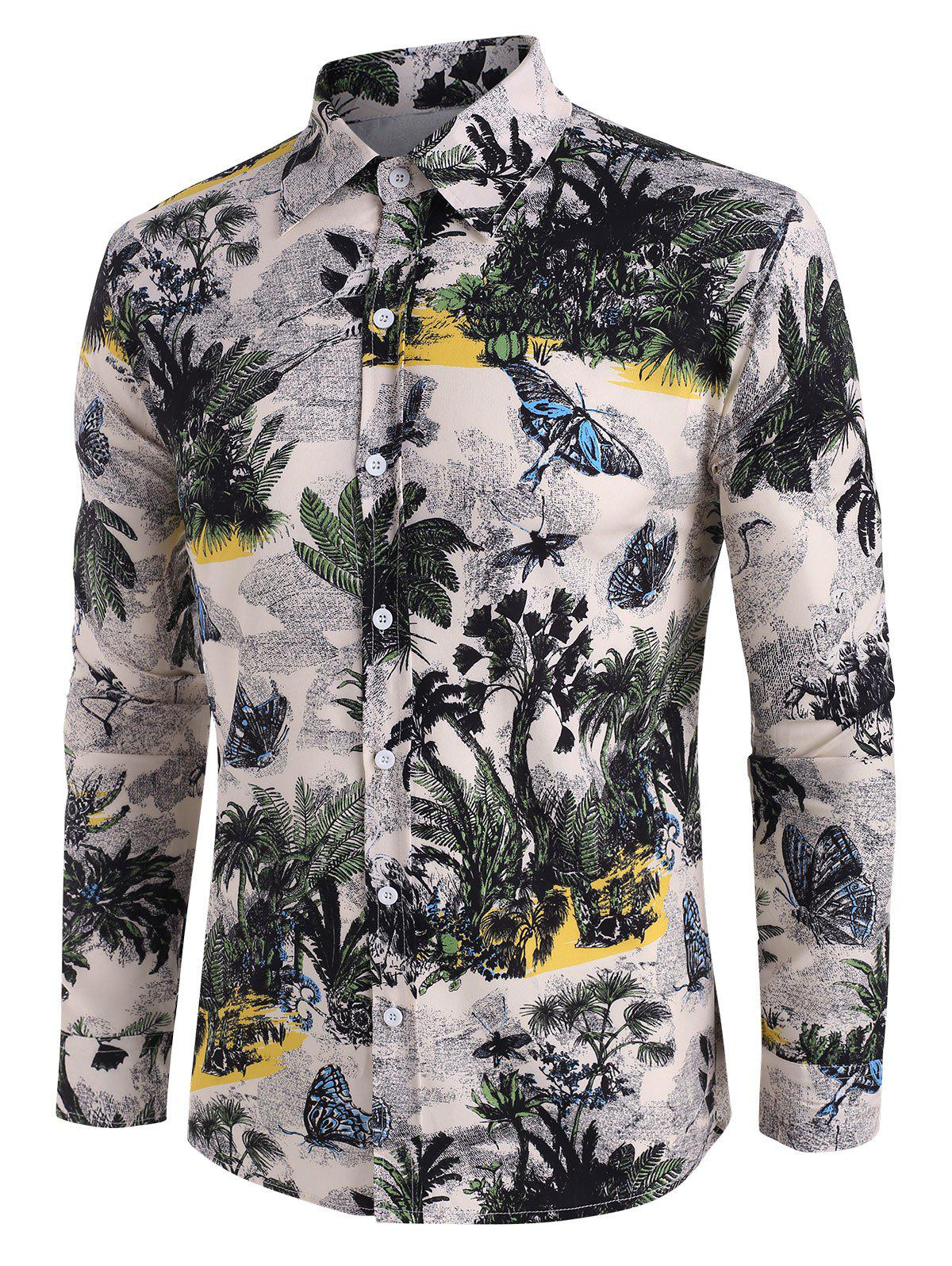 Trendy Palm Tree Butterfly Print Button Up Casual Shirt