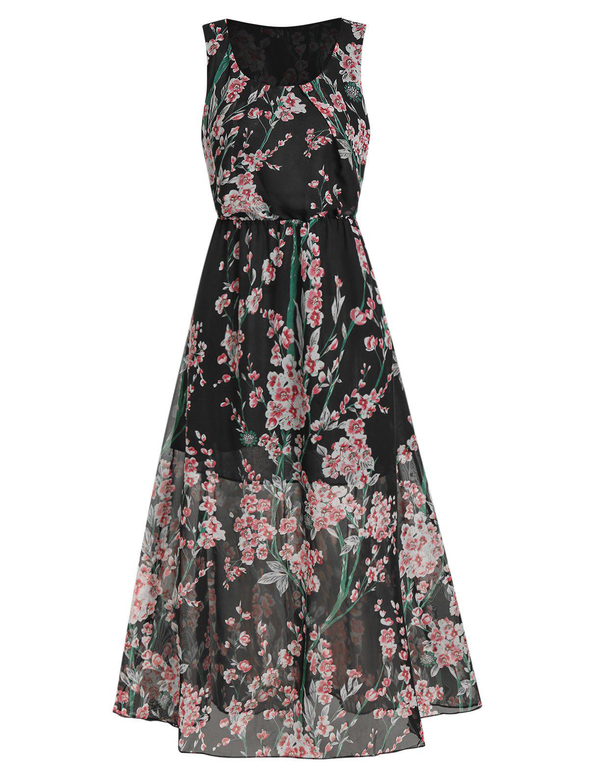 Outfits Floral Print Elastic Waist Sleeveless Maxi Dress
