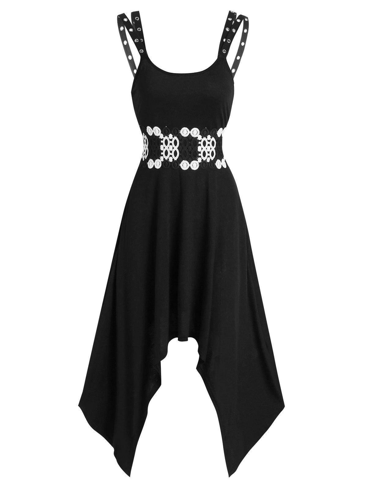 Grommet Strap Asymmetrical Long Cami Dress