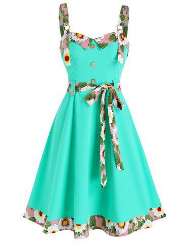 Sleeveless Floral Trim Mock Button Knotted Dress