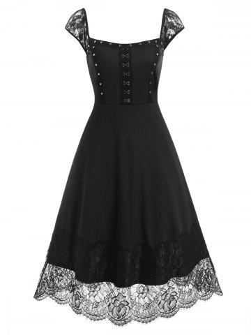 Lace Panel Hook and Eye Rivets Midi Dress