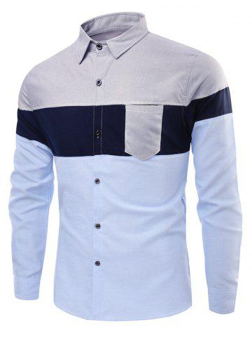 Colorblock Chest Pocket Stitching Button Up Shirt - GRAY - XS