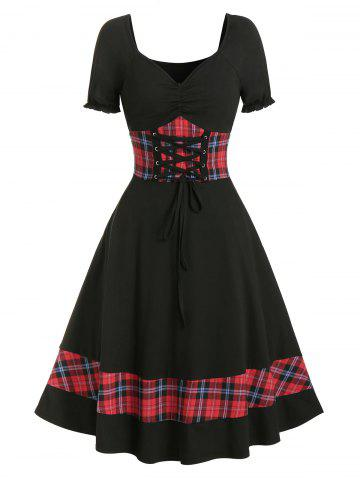Plaid Panel Cinched Ruched Bust Rockabilly Dress