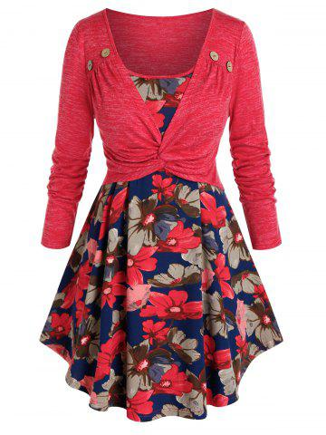 Plus Size 2 In 1 Twist Floral Pattern T-shirt - CHERRY RED - 5X