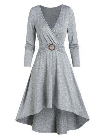 Casual High Low O Ring Wrap Dress