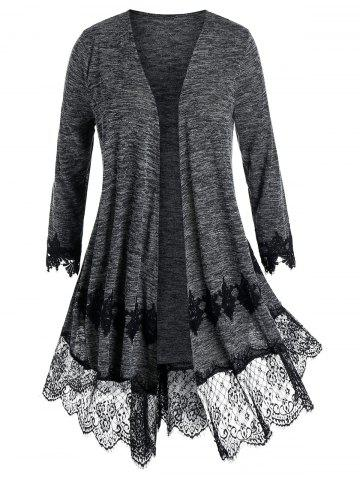 Plus Size Lace Panel Embroidery Cardigan - BLACK - L