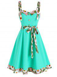 Sleeveless Floral Trim Mock Button Knotted Dress -
