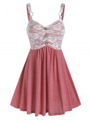 Sleeveless Lace Insert O-ring Mock Button Dress -