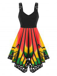Buckled Lace-up Butterfly Print Sleeveless Dress -