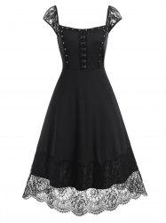 Lace Panel Hook and Eye Rivets Midi Dress -