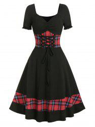 Plaid Panel Cinched Ruched Bust Rockabilly Dress -