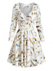 Feather Printed Sweetheart Neck Twist Dress -