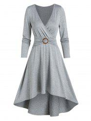 Casual High Low O Ring Wrap Dress -